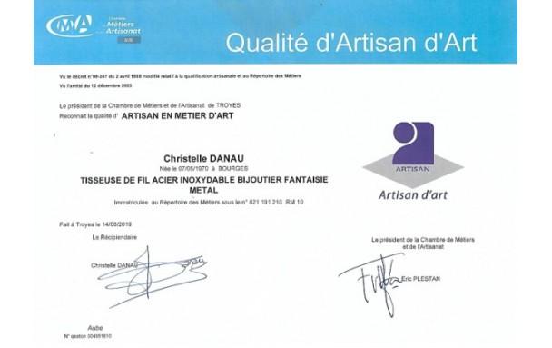 Qualification Artisan d'Art